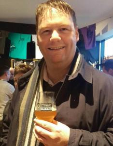 Enjoying a beer at Stewart Brewing
