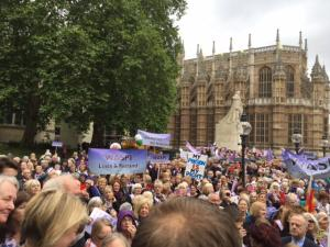 Crowd at WASPI demo, Westminster, 8 March 2017