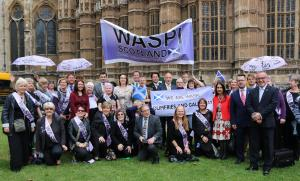 With Scottish WASPI women and fellow SNP MPs at WASPI demo, Westminster, 29 June 2016