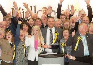 After General Election win announcement with Team Midlothian, 8 May 2015