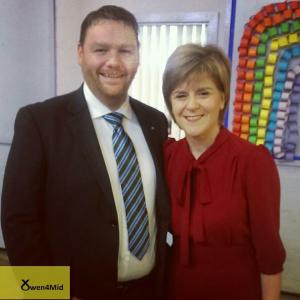 With Nicola Sturgeon in Loanhead, 2015