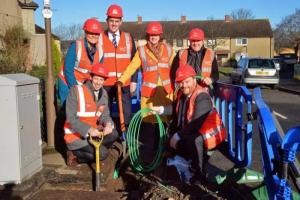 With Midlothian councillors, Virgin Media team and installers in Loanhead, spring 2017